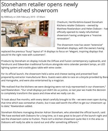 Stoneham retailer Dobsons article in kbbdaily on its new kitchen showroom
