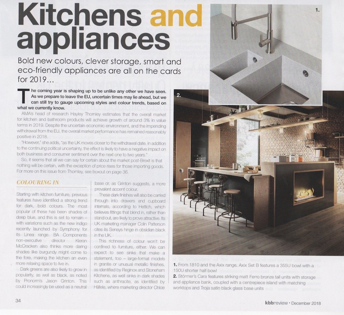 Part 1 of a kitchens trends article in kbbreview magazine