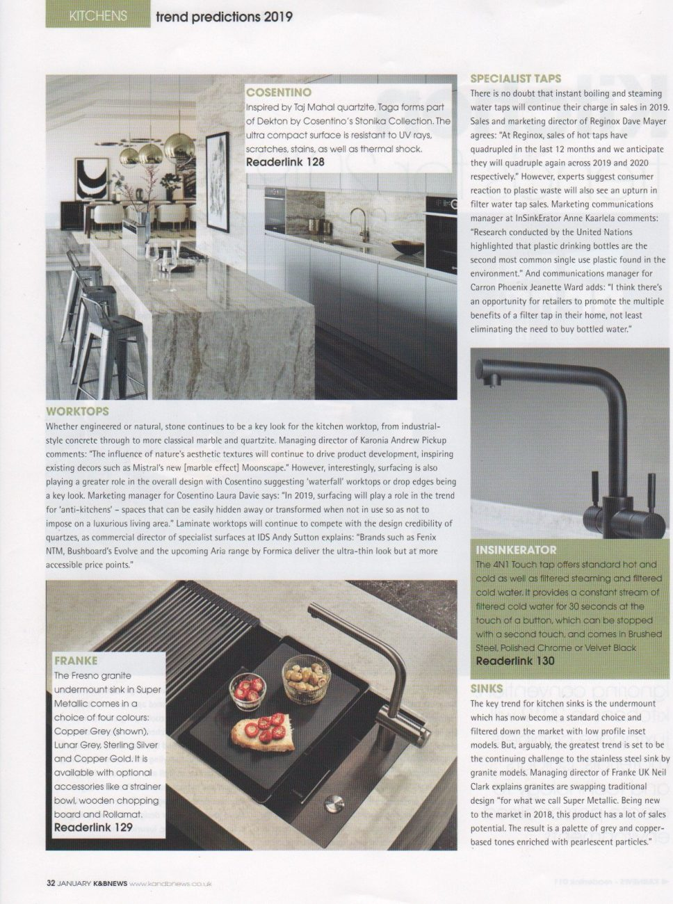 Part 2 of a kitchen trends feature in Kitchens and Bathrooms News magazine