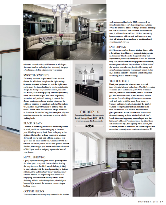 Article in Life Magazine on Kitchen Trends 2019
