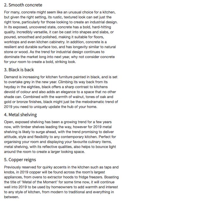 Screenshot of Selfbuilder + Homemaker kitchen trends article