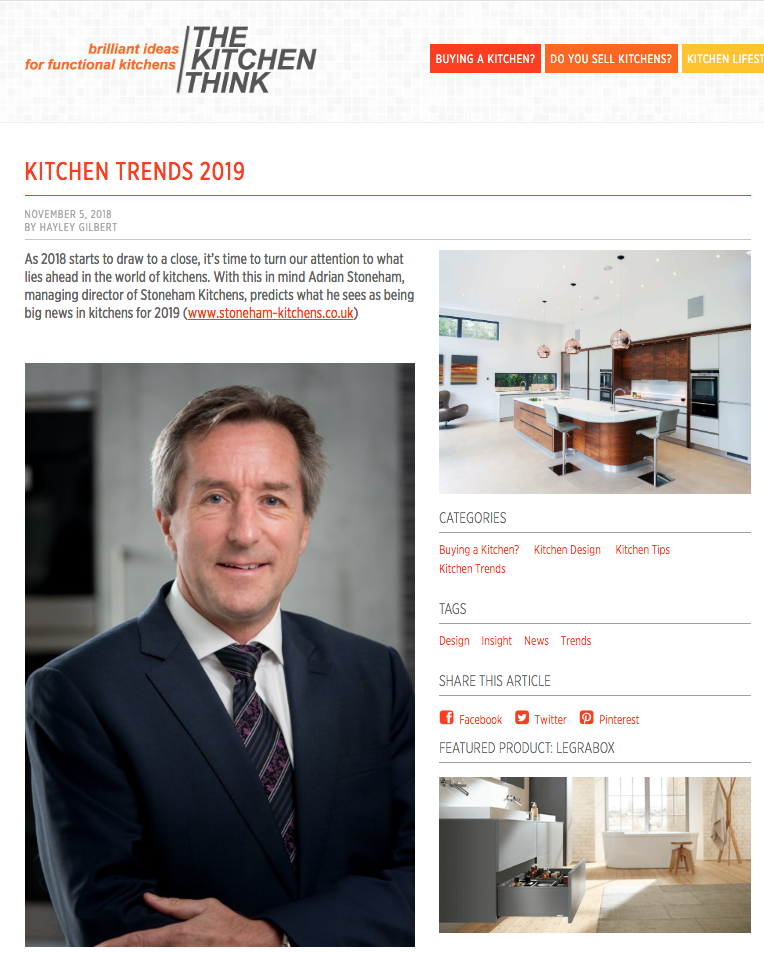 Part one of a kitchen trends article in The Kitchen Think