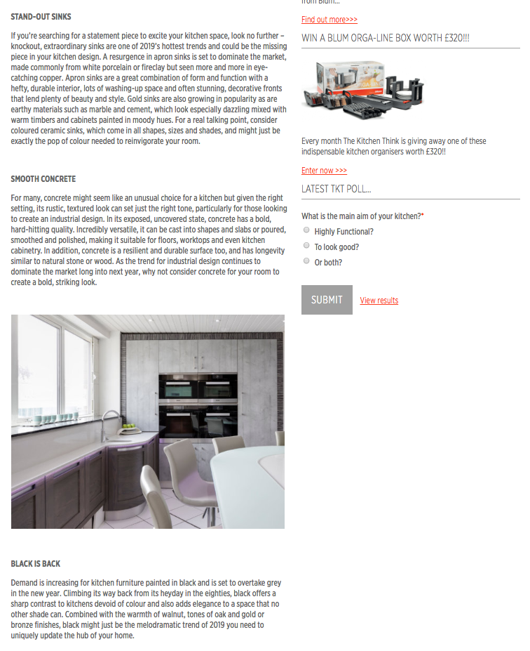 Part two of a kitchen trends article in The Kitchen Think