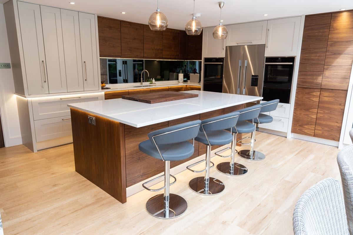 Walnut And Painted Kitchen Made For Entertaining Stoneham Kitchens